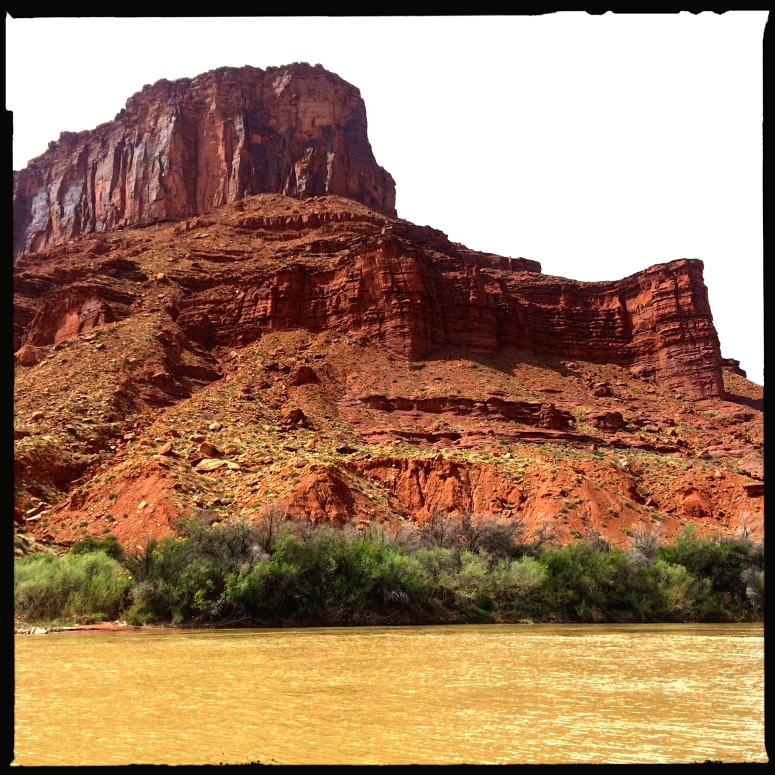 Red rock cliffs along the Colorado River from our campsite.
